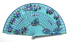 Vintage Spanish Hand Painted Turquoise Light Blue Bamboo Wood Fabric Fan