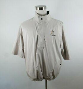 FootJoy DryJoys Mens Polyester SS 1/4 Zip Beige Golf Shirt Large RENDITIONS