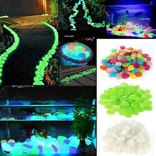 100Stk. Leuchtsteine Leuchtkiesel leuchtende Deko Kiesel Steine Garten 3 Farbe