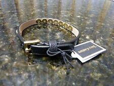 Genuine Juicy Couture Black Leather Pyramid Skinny Braclet $38 Retail YJRU7130