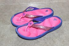 New Girls Adidas Fitfoam Cushioned Sparkly Purple Pink Flip Flops Sandals 11.5 K
