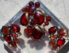 Rare Signed Schiaparelli Poured Red Ruby Striped Glass Brooch & Earrings Set