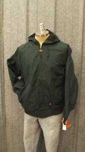 Vtg Walls Green Duck Cotton Canvas Work Jacket w/Hood sz XL USA made