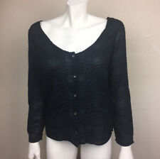 Womens Chicos Design Size 0 Black Button Front Shirt Rayon Embroidered XS