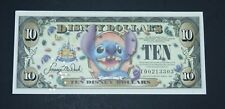 Rare Disney Dollars Uncirc. 2005 Series T Stitch 1st Edition $10 Without Barcode