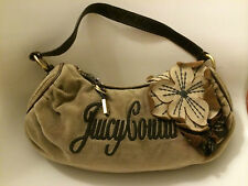 JUICY COUTURE LEATHER flower VELOUR baguette HANDBAG Brown accent velvet