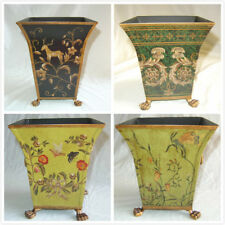 """10""""H Hand Painted Tole Wastebasket/Orchid Planter"""