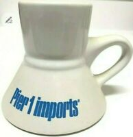 Vintage Pier 1 Imports Coffee Mugs Cups White & Blue Non-Slip Wide Bottom Set 2
