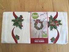 "FOOD NETWORK CHRISTMAS SLEIGHBELL WREATH REVERSIBLE TABLE RUNNER 17"" X 84"""