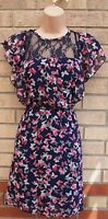 PRIMARK NAVY BLUE PINK BUTTERFLY PRINT LACE INSERTED SKATER A LINE DRESS 8 S