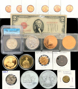 U.S. Coins 90% Silver Peace Dollar Walking Liberty Tokens Medals Junk Drawer Lot