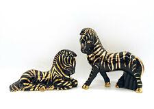 Mid Century Modern Black and Gold Zebra Ceramic Figurines- a Pair