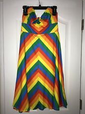 MODCLOTH RAINBOW STRIPED HALTER 50's PIN UP STYLE DRESS SZ MEDIUM