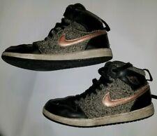 Jordan 1 Retro High GP Shoes Black/Bronze/Gray Faux Fur Sz 3y 705321-022