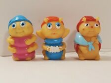 Vtg Hasbro Playskool Glow Worm Glo Friends Lot of 3 Finger Puppet
