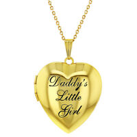 "Children's Heart Photo Locket Pendant Necklace Daddy's Little Girl 19"""