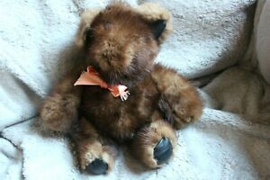 "Vintage Hand made Teddy Bear Genuine Mink Fur Plush Brown 10"""