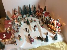 Christmas Lighted Village -Buildings People Trees w/ Display Base (S-1)
