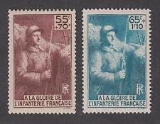France - Timbres neufs ** - Soldats d'infanterie - N° 386 et 387 - 1938 - TB
