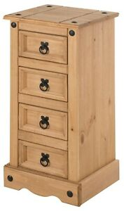 Corona Bedside Table Chest Cabinet 4 Drawer Narrow by Mercers Furniture®