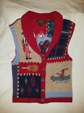 WOMENS Size M Eddie Bauer Wool Sweater Vest  Knit Shawl Cardigan Patriotic 1992