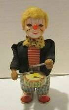 "Vintage mkd. Japan metal 6.5"" wind-up drumming clown - works well - GC"