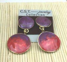 Cast Goldtone Stacked Disk Pierced Drop Cst Earrings Enamel Purple Fuchsia Swirl