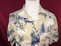 Caribbean Joe 100% Rayon Floral Pattern Hawaiian Aloha Camp Shirt Mens Large