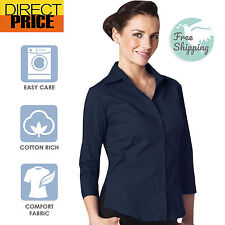 Ladies Shirt Blouse 3/4 Short Sleeve Stretch Fitted Business Office Wear-Navy