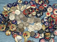 5 DIFFERENT PIN BACKS PINBACKS FROM WWI WW1+Barber SILVER COIN #5