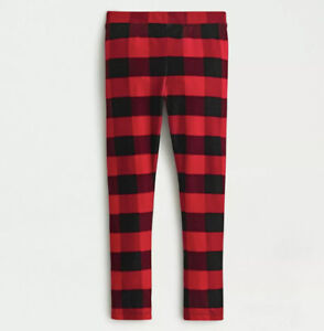2020 NWT Crewcuts J.Crew Red Buffalo Check Velvet Leggings Stretch Pants Girls 8