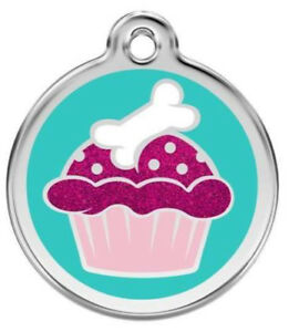 Dog ID Tag Charm  Personalized  Red Dingo  Lifetime Guarantee  Glitter Cupcake