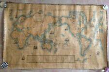 PLANISPHERE LARGE WALL MAP 1930 by L. BERGELIN / DE LA RONCIERE - ON LINEN