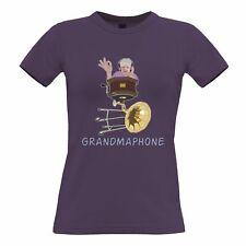 Novelty Music Womens TShirt Grandmaphone Illustration Grandma Gramophone DJ
