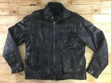 Diamond Plate Cafe Racer Motorcycle Leather Jacket Mens XL Patchwork Distressed