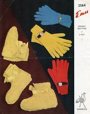 Emu 2564 Double & 4 Ply Knitting Pattern Gloves & Bedsocks / Booties Family
