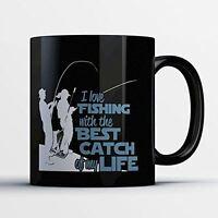 Fishing Coffee Mug - Best Catch of My Life - Funny 11 oz Black Ceramic Tea Cup -