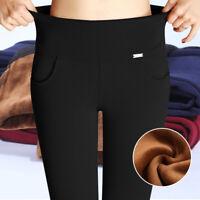 Women Winter Thermal Warm Thick Velvet Lining High Waist Trouser Skinny Leggings