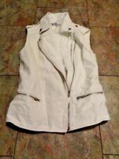 jennifer lopez white pleather zip front vest size xs