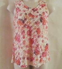 CHRISTOPHER & BANKS~White Peach Pink Ruffled Embellished Sleeveless Tank Top~M~