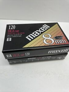 2 Maxell HGX-XR 120 8mm Video Tape Metal Particle BRAND NEW SEALED Tape Gb1