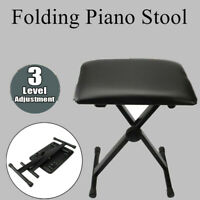 Folding Adjustable Piano Keyboard Bench Leather Soft Padded Seat Stool Chair