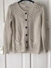 Fat Face Femmes Cardigan en tricot torsadé laine d'alpaga mélangé Poches Sweater UK12