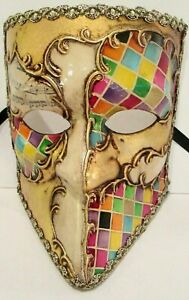 CASANOVA HANDMADE IN ITALY,  ICONIC PAPIER MACHE  MASK, HARLEQUIN/MULTICOLOURED.
