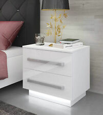 White Bedside Cabinet / Table / FREE LED !!! / High Gloss / Bedroom Furniture