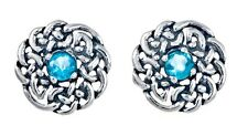 925 Sterling Silver Round Celtic Knot Stud Earring with December Birthstone