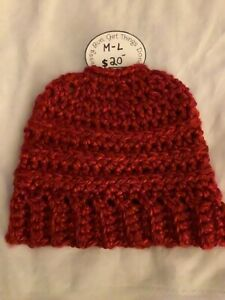 Keisha's Handmade Ladies Crocheted Hat with Messy Bun or Ponytail Opening-NEW