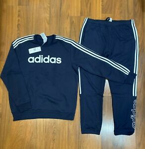 adidas Men's Pullover Sweatshirt, Pants Size M, L Tracksuit Blue New