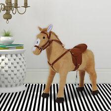 Homcom Reitpferd Plüschpferd Spielpferd Kinderpferd mit Sound Sitzhöhe 48cm