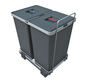 Pull out Waste Bin Recycling - for min 400mm Cabinet - Ecofil  2 x 24l container